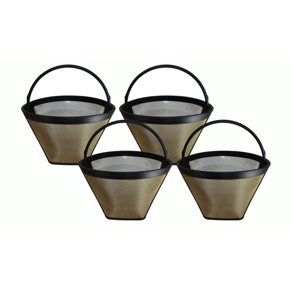 4 Washable Gold Tone #4 Cone Coffee Filters, Part # GTF