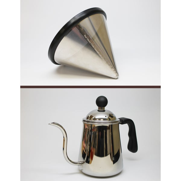 Reusable Stainless Steel Cone Coffee Filter Fits Chemex 6, 8 and 10 Cup Coffee Makers and Pour Over Kettle 17565480