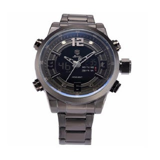 Shark Sport Watch Black Stainless Steel Band Casual Watch with Alarm Clock and Stopwatch Functions