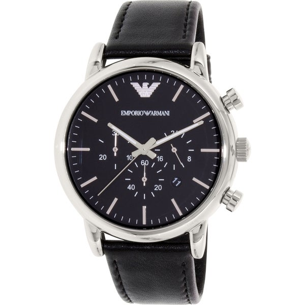 Emporio Armani Men's Black Leather AR8029 Quartz Watch