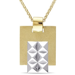 Versace 19.69 Abbigliamento Sportivo SRL Men's Geometric Necklace in 18k White and Yellow Gold Plated Sterling Silver