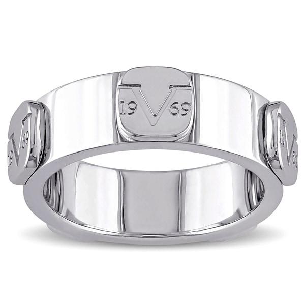 V1969 ITALIA Raised Logo Eternity Ring in Sterling Silver