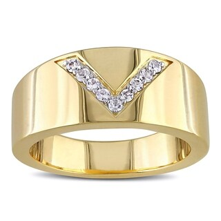 Versace 19.69 Abbigliamento Sportivo SRL SRL White Sapphire Insignia Ring in 18k Yellow Gold Plated Ster