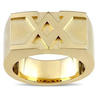 Versace 19.69 Abbigliamento Sportivo SRL SRL Men's Insignia Ring in 18k Yellow Gold Plated Sterling Silv