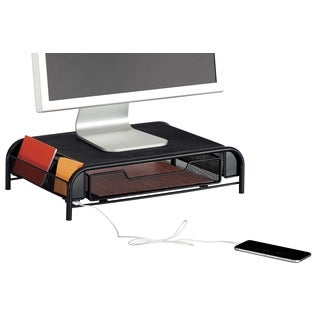 Safco Onyx Mesh Powered Charging Station Monitor Stand with USB port