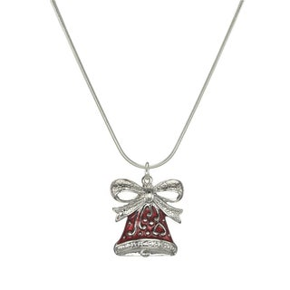 Jewelry by Dawn Holiday Red Pewter Bell Sterling Silver Snake Chain Necklace