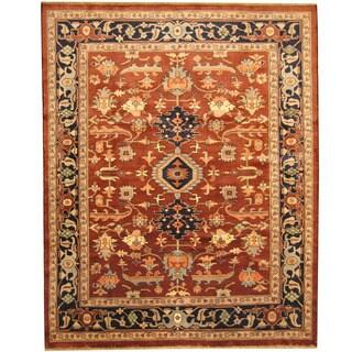 Herat Oriental Afghan Hand-knotted Tribal Vegetable Dye Oushak Rust/ Navy Wool Rug (7'6 x 9'6)