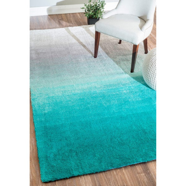 NuLOOM Handmade Soft And Plush Ombre Shag Turquoise Rug (4