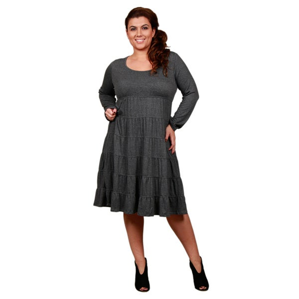 Firmiana Women's Long Sleeve Deep Grey Dress