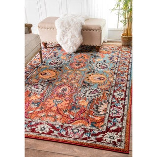 nuLOOM Traditional Flower Persian Multi Rug (5'3 x 7'7)