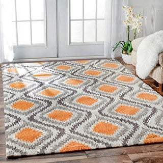 nuLOOM Handmade Modern Ikat Trellis Orange Rug (6' x 9')