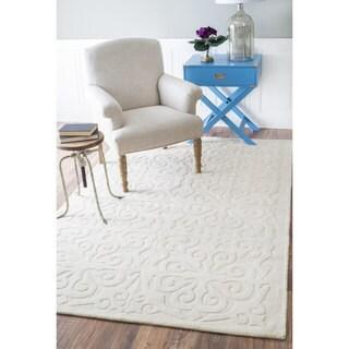 nuLOOM Handmade Abstract Fancy Wool Cream Rug (8'6 x 11'6)
