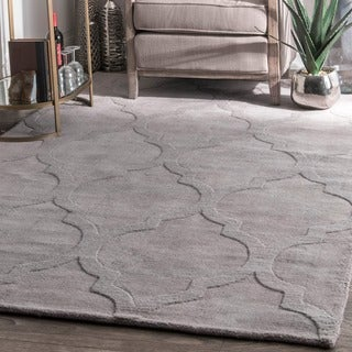 nuLOOM Handmade Abstract Raised Trellis Wool Grey Rug (9'6 x 13'6)