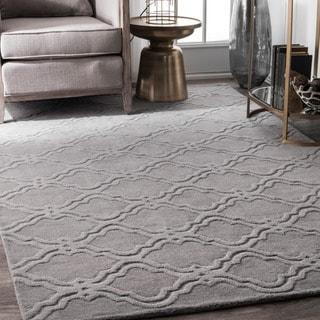 nuLOOM Handmade Modern Trellis Fancy Wool Grey Rug (9'6 x 13'6)