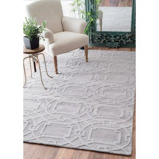 nuLOOM Handmade Abstract Trellis Wool Grey Rug (8'6 x 11'6)