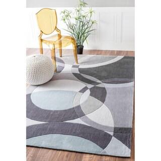 nuLOOM Handmade Geometric Modern Circles Grey Rug (8'6 x 11'6)