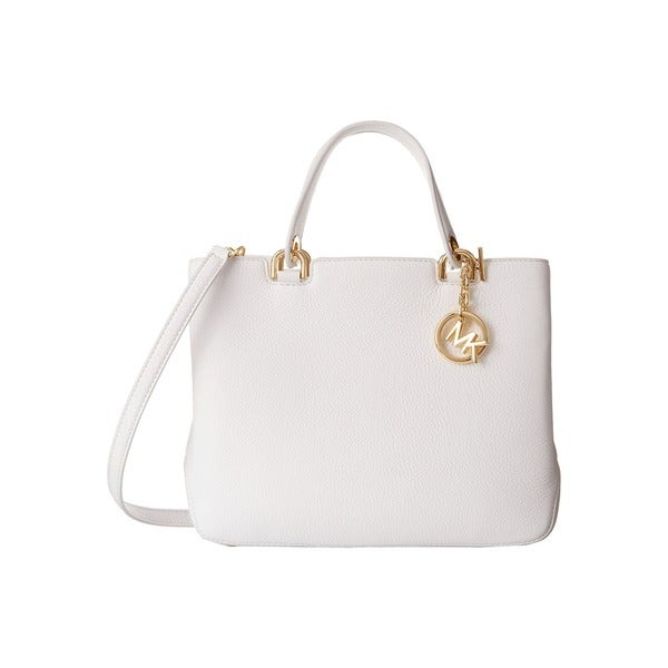 Michael Kors Annabelle Optic White Medium Top Zip Tote Handbag
