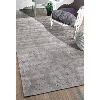 nulOOM Handmade Modern Damask Grey Rug (3'6 x 5'6)