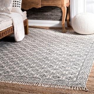 nuLOOM Handmade Flatweave Floral Trellis Cotton Fringe Off-White Rug (8'6 x 11'6)