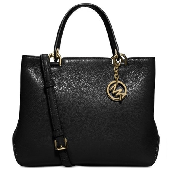 Michael Kors Annabelle Black Medium Top Zip Tote Handbag