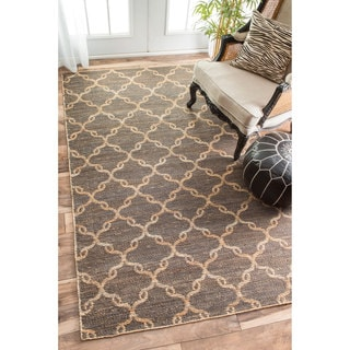 nuLOOM Flatweave Natural Fiber Looped Trellis Reversible Jute Natural Rug (8'6 x 11'6)