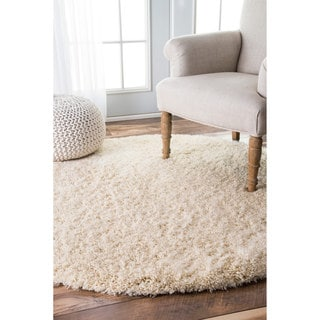 nuLOOM Soft and Plush Solid Thick Shag Ivory Rug (5'3 Round)