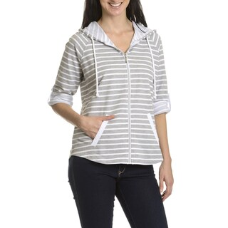 Three Hearts Women's French Terry Stripe Hoodies with Eyelet Trim