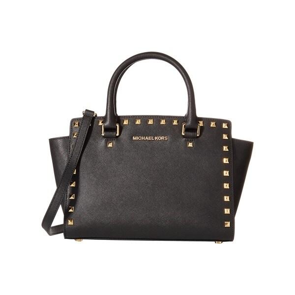 Michael Kors Selma Stud Black Medium Top Zip Satchel Handbag