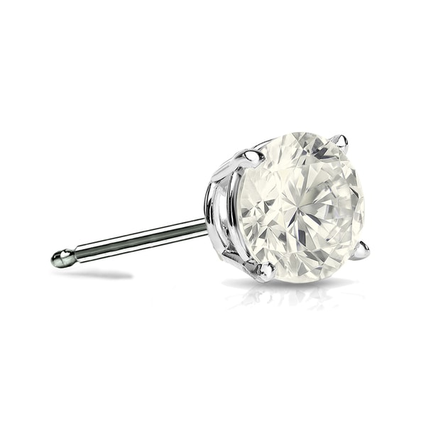 Auriya 14k Gold 1/2ct TDW 4-Prong Push-Back Round Diamond Single Stud Earring (J-K, I2-I3) 17568851