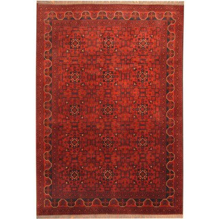 Herat Oriental Afghan Hand-knotted Tribal Khal Mohammadi Red/ Navy Wool Rug (6'7 x 9'4)