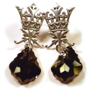 Silverplated Gabsburg Vintage Style Earrings with Black Crystals