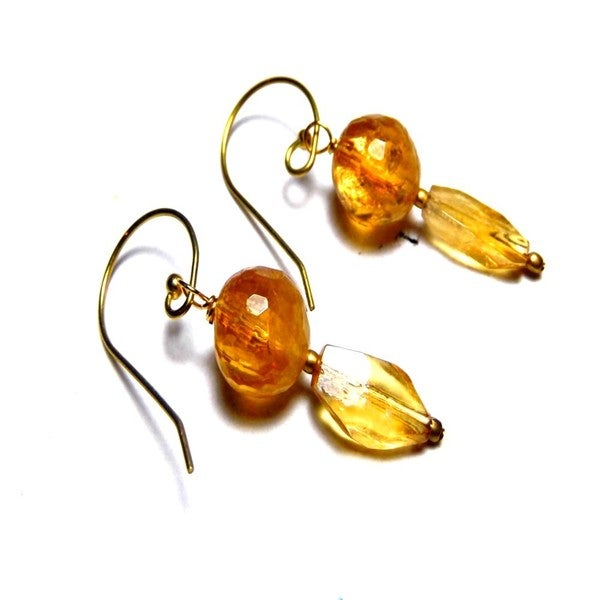 Golden Lemon Quartz Raw Brass Drop Earrings