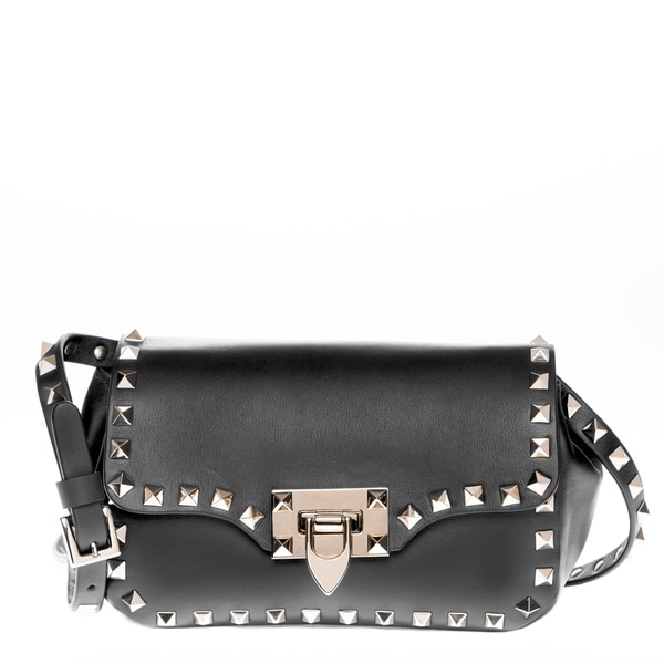 Valentino Black Rockstud Mini Leather Flapover Cross-body Bag