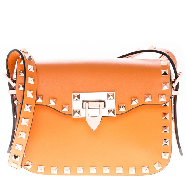 Valentino Small Orange Leather Rockstud Cross-body Bag