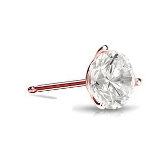 Auriya 14k Gold 1/3ct TDW 3-Prong Push-Back Round Cut Diamond Single Stud Earring (I-J, I1-I2)