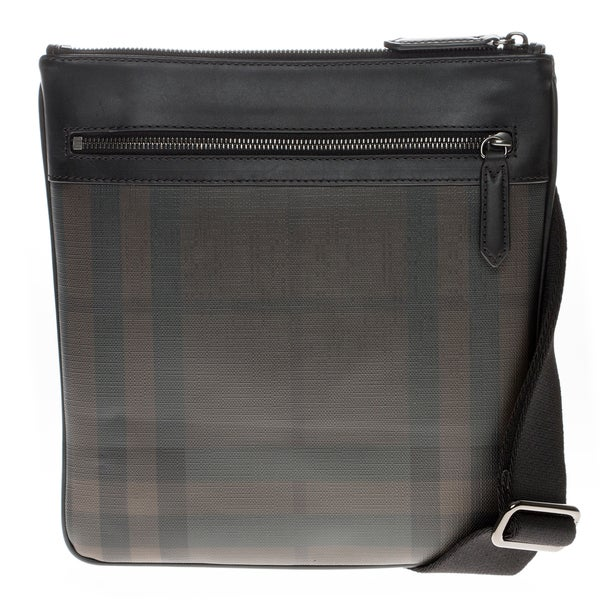 Burberry Black/ Brown Checked Messenger Bag