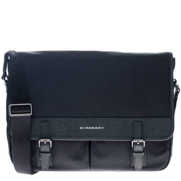 Burberry Navy Blue Leather Trim Messenger Bag