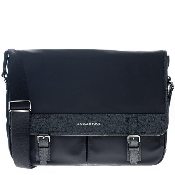 Burberry Navy Blue Leather Trim Messenger Bag