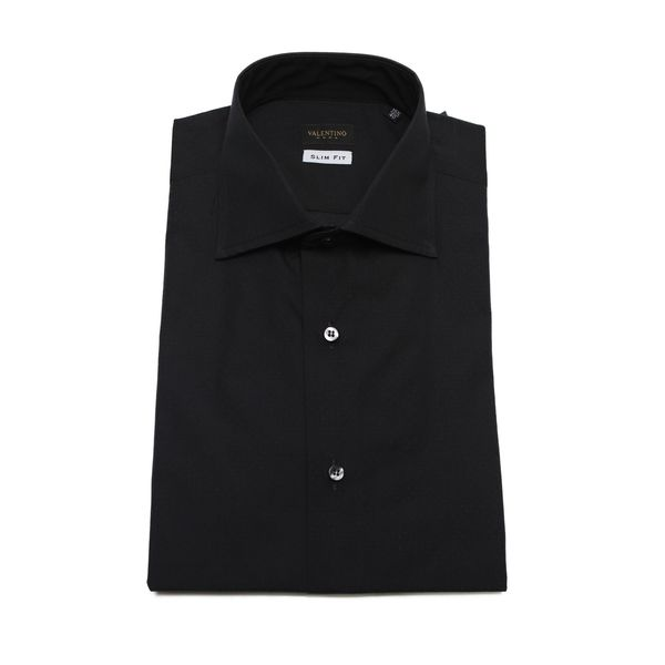 Valentino Men's Slim Fit Black Cotton Mini Polka Dot Dress Shirt