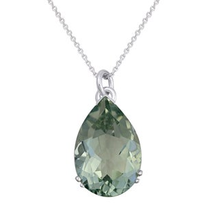 Beverly Hills Charm 10K White Gold Pear Shape Green Amethyst Necklace