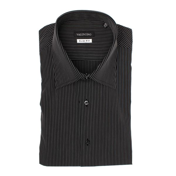 Valentino Men's Black/ White Stripe Slim Fit Cotton Dress Shirt