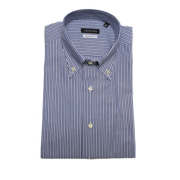 Valentino Men's Blue/ White Pinstripe Slim Fit Cotton Dress Shirt