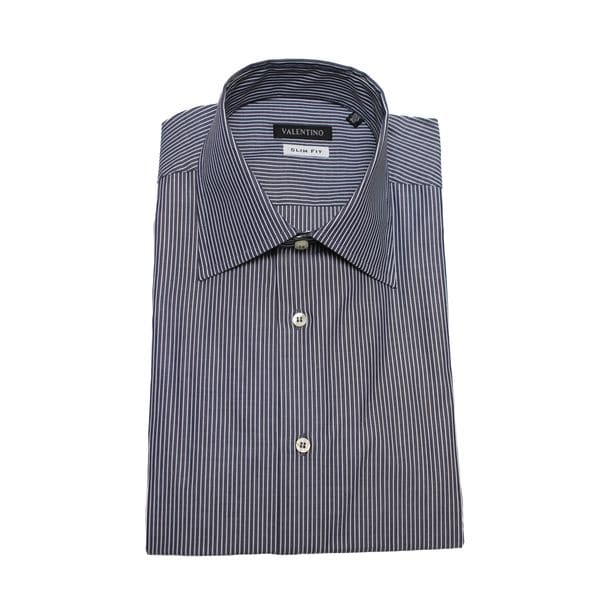 Valentino Men's White/ Grey Stripe Slim Fit Cotton Dress Shirt
