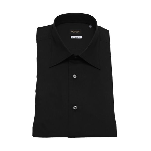 Valentino Men's Slim Fit Black Cotton Dress Shirt