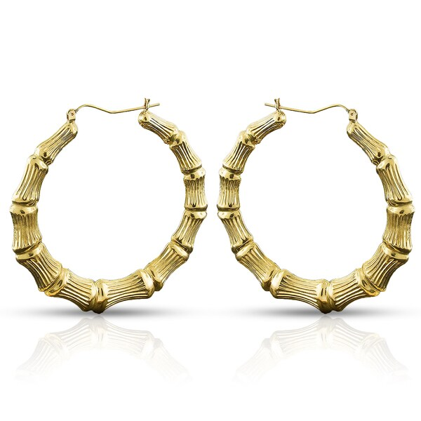 10k Yellow Gold Womens Fancy Bamboo Door Knocker Hoop Earrings