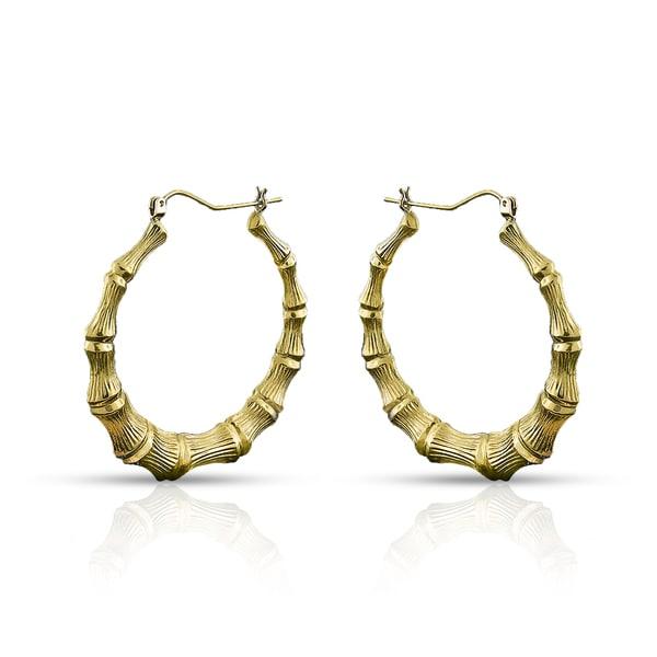 10k Yellow Gold Womens Fancy Bamboo Door Knocker Hoop Earrings
