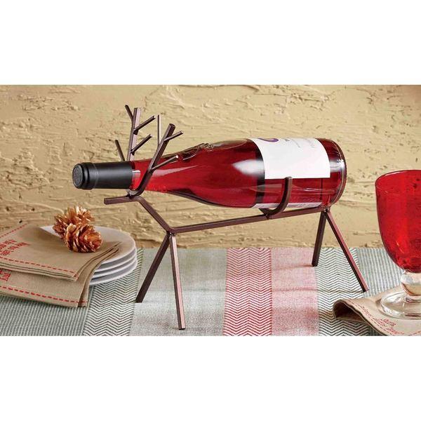 Tag Reindeer Wine Bottle Holder - Antique Bronze