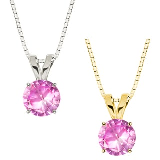 10k Gold Round Pink Sapphire Solitaire Pendant Necklace