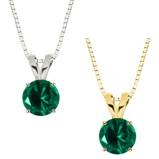10k Gold Round Emerald Solitaire Pendant Necklace