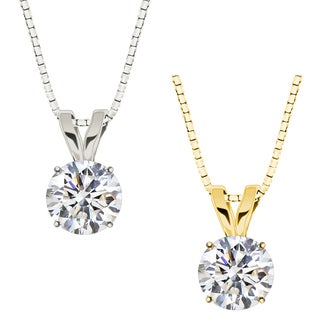 10k Gold Round White Sapphire Solitaire Pendant Necklace